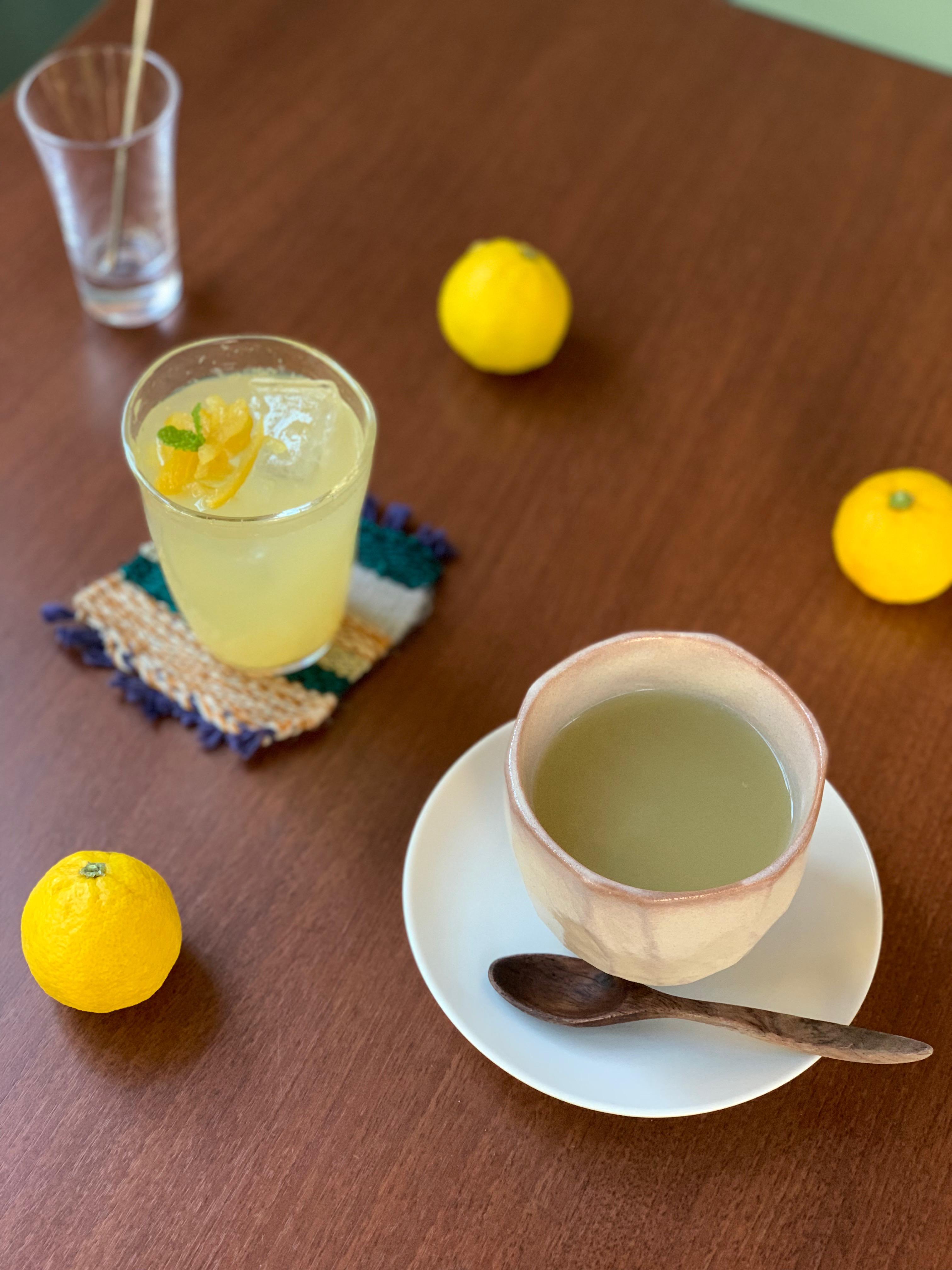 ほんだ自然農園さんの柚子と健一自然農園のほうじ茶オレ:ドリンク新メニュー2019年冬