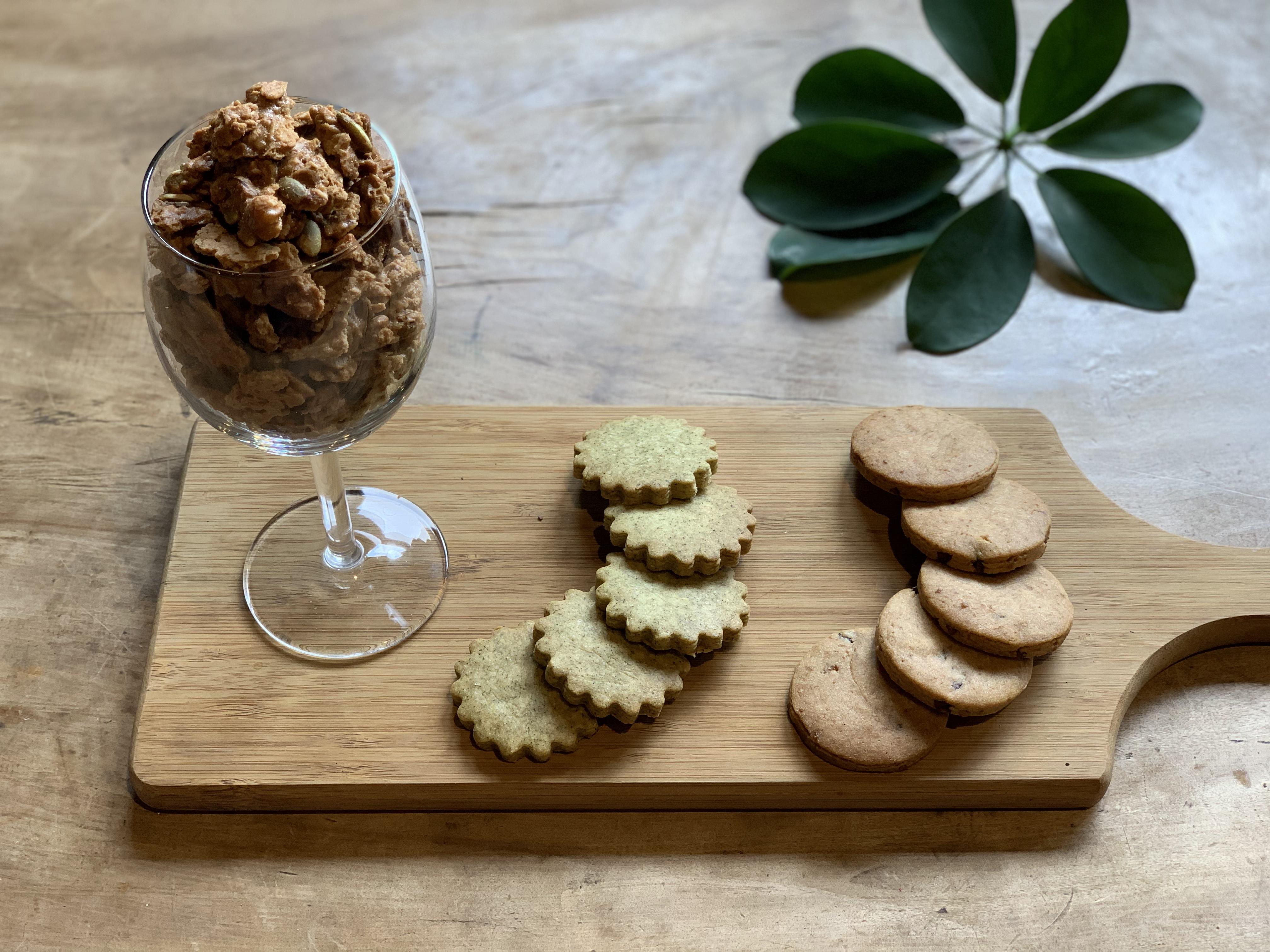 \NEW/立秋より「天の煎茶塩麴クッキー」&「マスコバド糖とカカオニブクッキー」