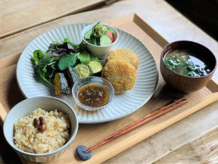7月のヴィ―ガンスロープレート~黒豆とキャベツのコロッケ~自家製おろし玉ねぎ青じそソースほか